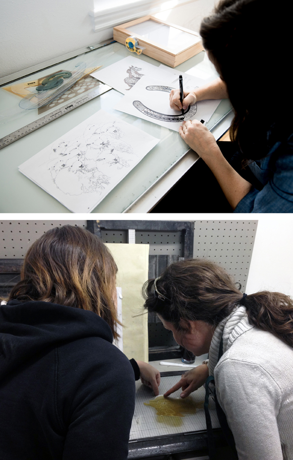 Hand-drawing & illustrating designs for letterpress photopolymer plates and letterpress printing with Kamiken.