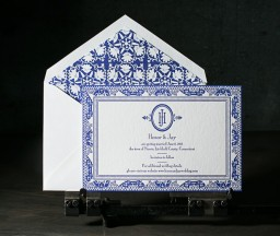 Custom azure letterpress save the dates