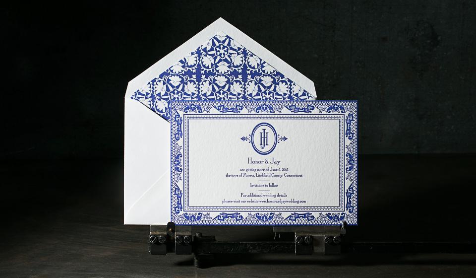 chinoiserie style letterpress wedding invitations