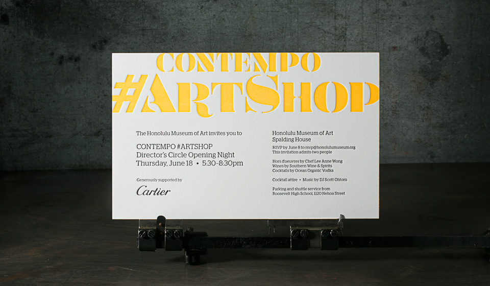 Honolulu Museum of Art letterpress event invitations for Contempo