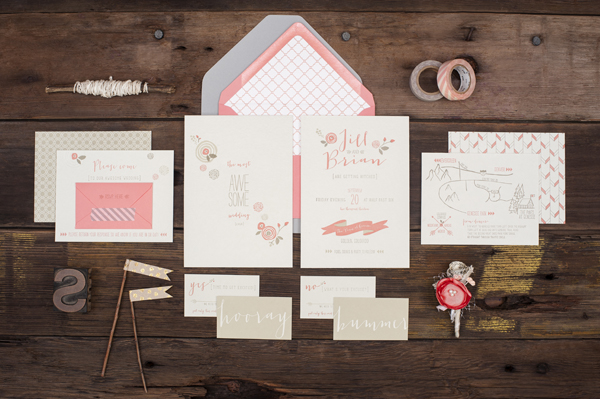 Letterpress wedding stationery suite by Ruff House Art