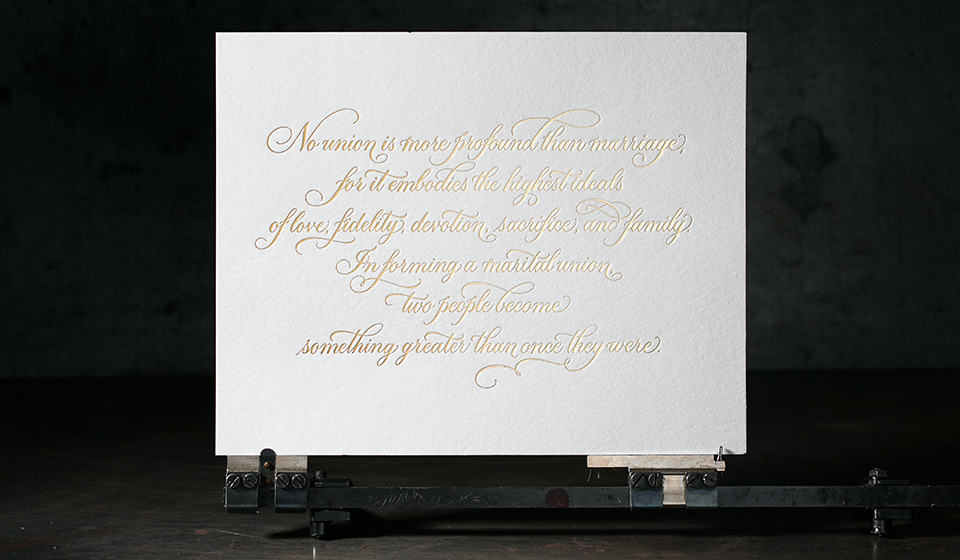 Gold foil stamped Love Wins art print by Sarah Hanna for Smock