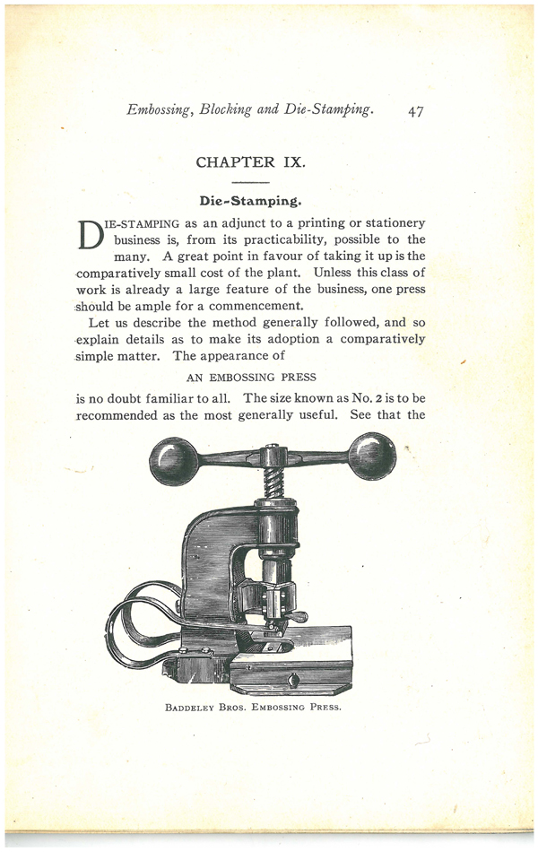 Baddeley Bros. Embossing Press in a printing book by Herrick circa 1900s. Scan courtesy of the St. Brides Library, London