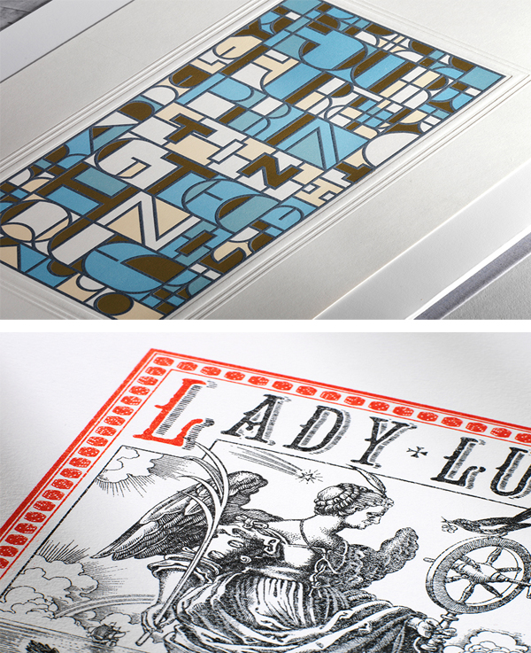 Printing samples from the Baddeley Brothers in London