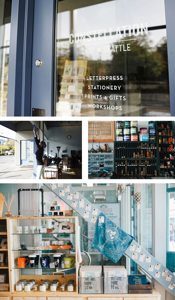 Beautiful letterpress shop of Constellation & Co. of Seattle, Washingtion.