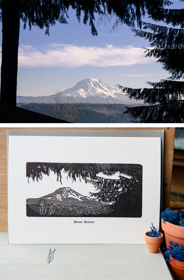 Mt. Rainer illustration via letterpress card by Constellation & Co.