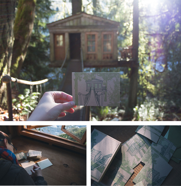 Treehouse Point letterpress cards and treehouse inspiration.