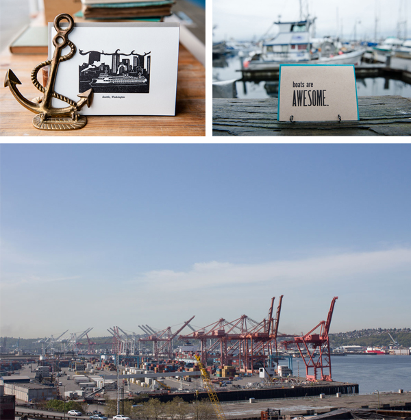 "Letterpress cards featuring ""boats are awesome"" and shipyard of Seattle, Washington."
