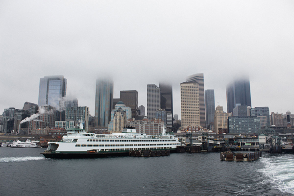 Fog and Seattle skyline.