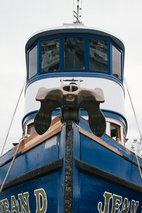 Shipping boat with anchor in Seattle, Washington.