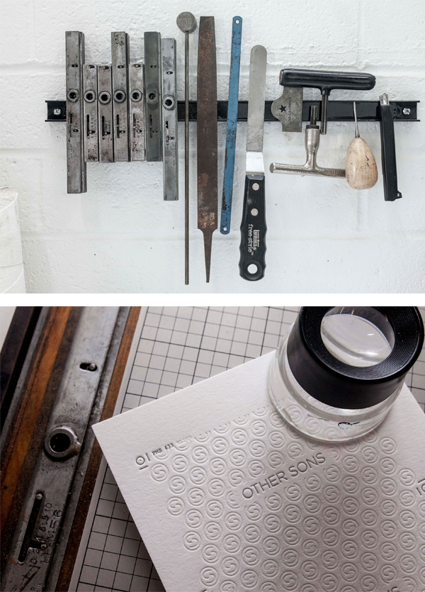 Critical printing pressroom tools such as quins, roller setting guages, brayers and ink knifes are all apart of a letterpress print shop.