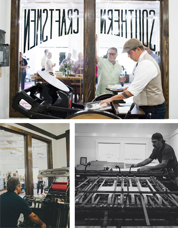 Printing on the Miehle, Heidelber Windmill, and Chandler & Price at Cotton and Pine.