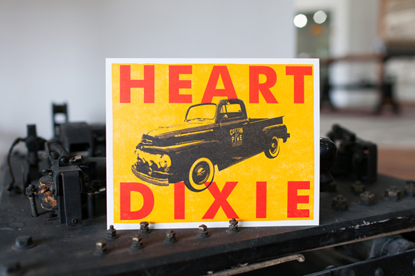 "Bright and cheery ""Heart of Dixie"" printed piece from Cotton and Pine."