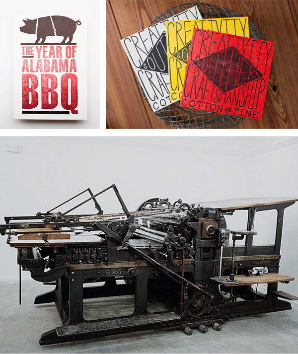 The wonderful Miehle press of Cotton and Pine plus colorful printed piece by Cotton and Pine.