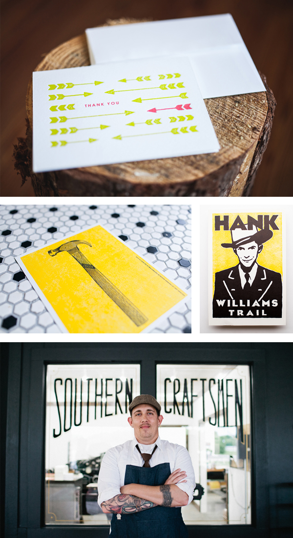Southern craftsmanship and perfectly inked prints from Cotton and Pine press.