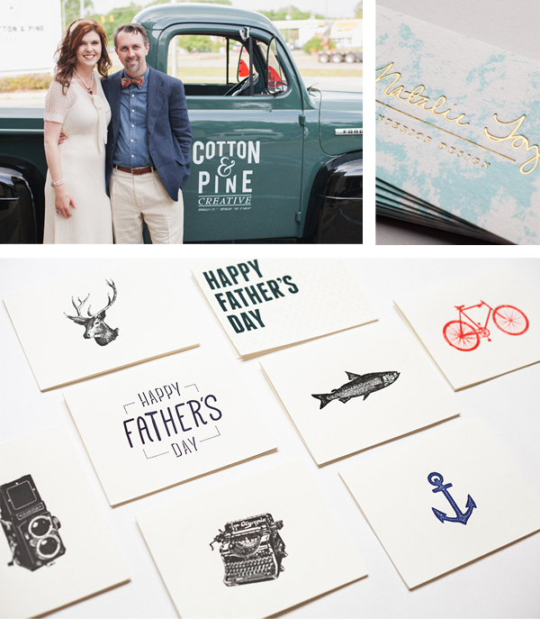 Cool letterpress printed Father's Day cards from Cotton and Pine press are a visual treat!