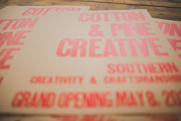 Grand Opening printed sign is bold and beautiful for Cotton and Pine.