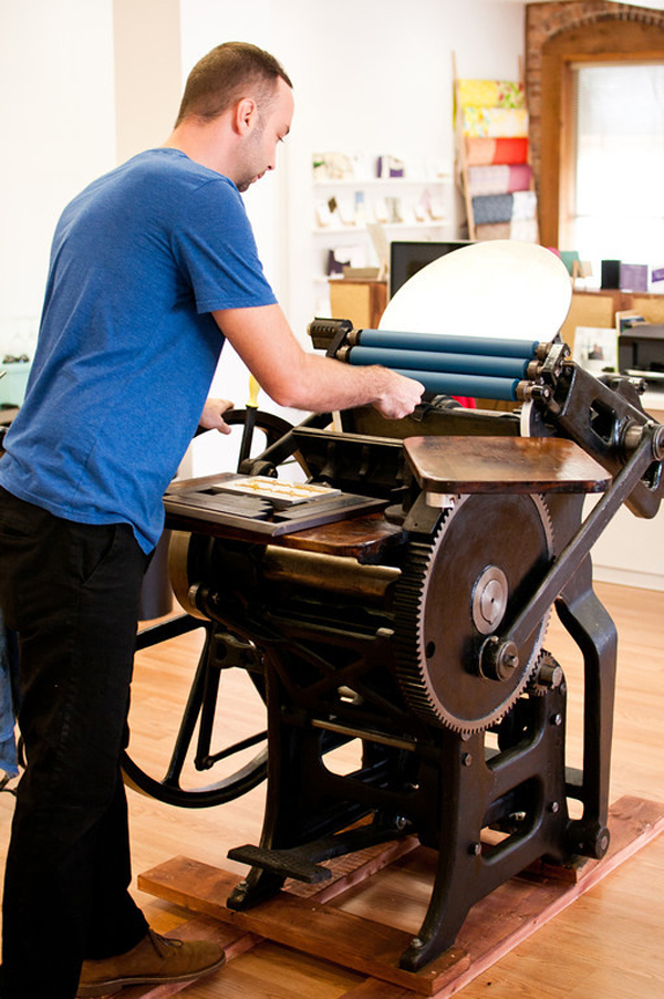 A&P Design uses hand-powered printing presses to cut down on carbon footprint.