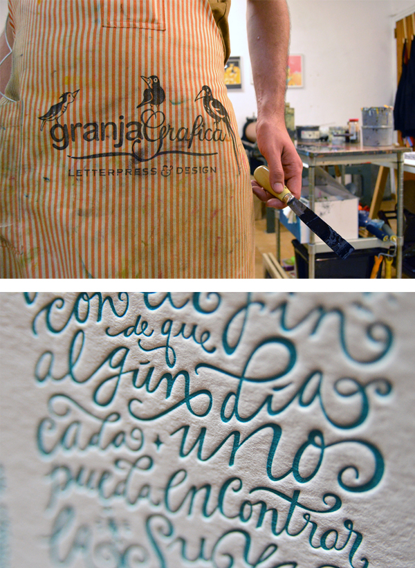 Flaunting a Granja Grafica print apron and letterpress teal ink is all in a day's work at the Barcelona, Spain print shop.
