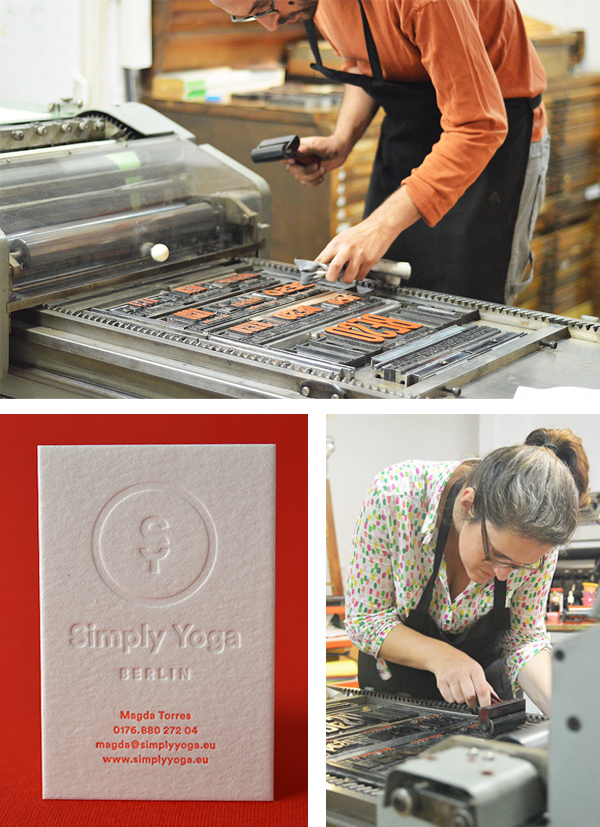Gaby and Elies of Granja Grafica set up the Korrex (cylinder) press for printing fun!