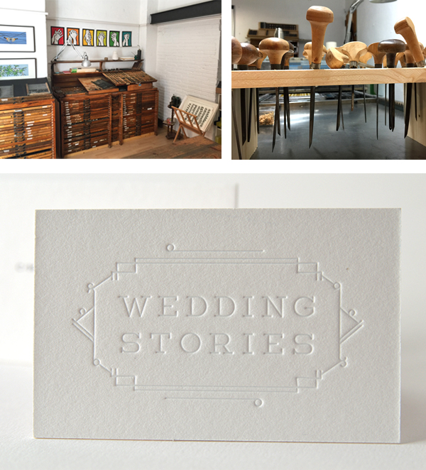 Delicate and exquisite blind deboss wedding stories printed pieces from Granja Grafica.