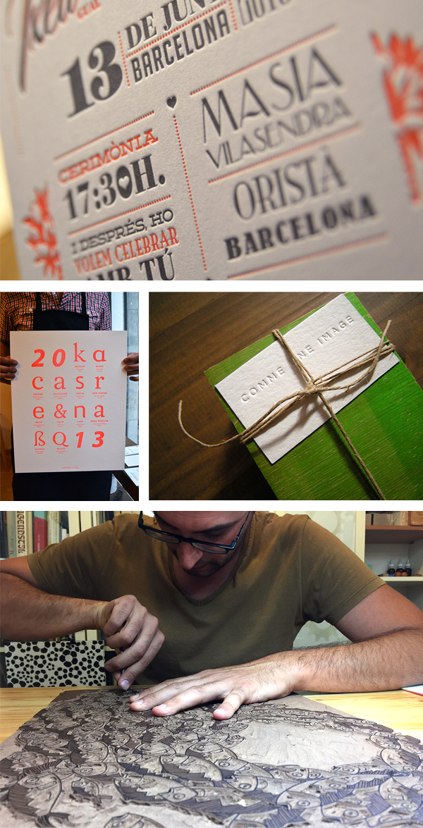 Hand-carved linoleum printing and broadside posters are printed expertly at Granja Grafica.