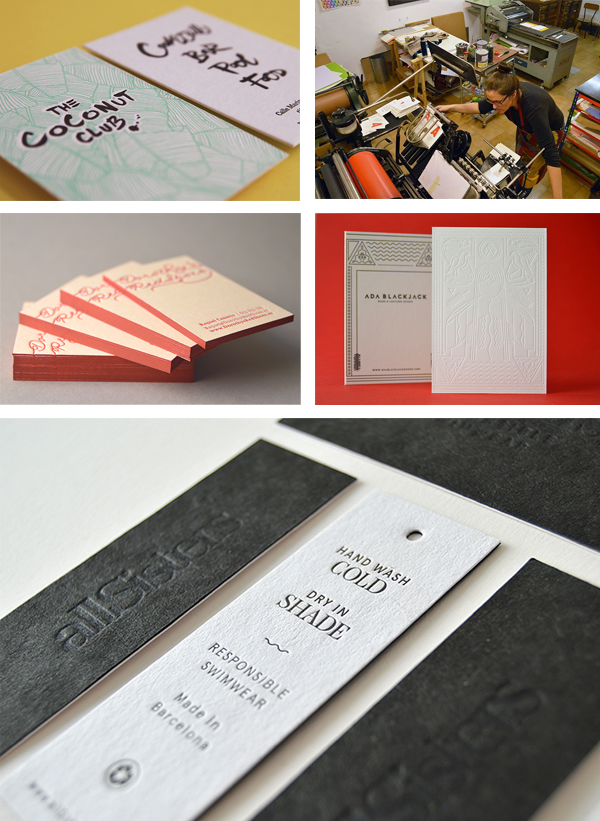 Beautiful lettepress printed goods including business cards and tags from Granja Grafica.