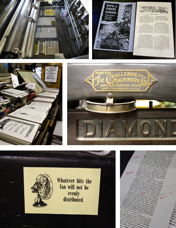 The printing presses of Route 3 Press in Montana are beautiful specimens that Tim Fay uses.
