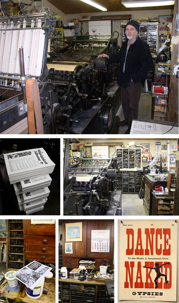 Tim Fay of Route 3 Press prints on his linotype in his Montana letterpress print shop.