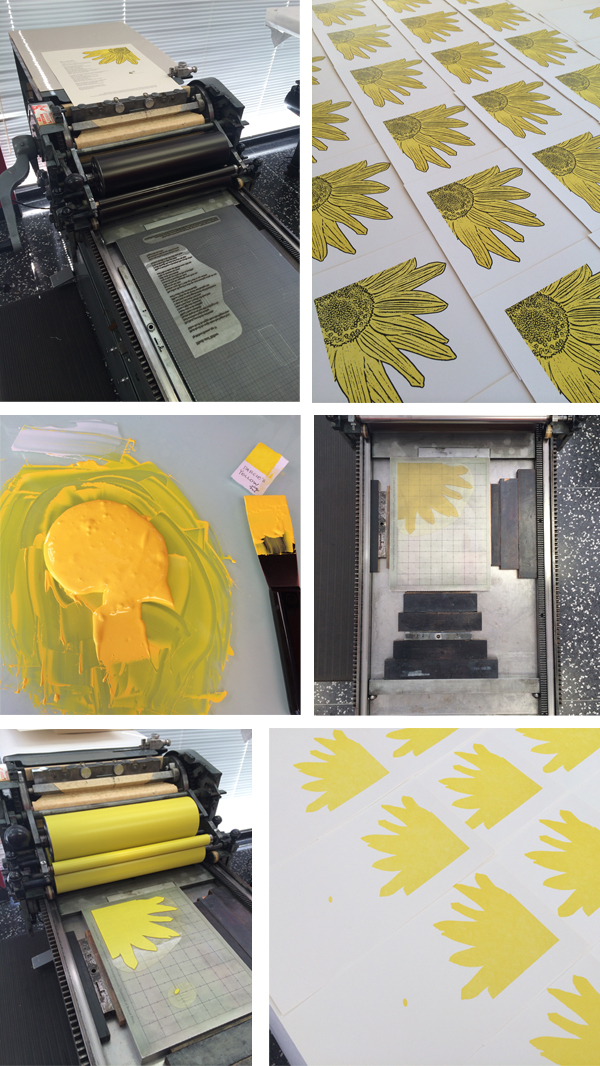 Boxcar letterpress plates in action for Darcie Kantor's Seattle Hospital Children's Broadsides project print.