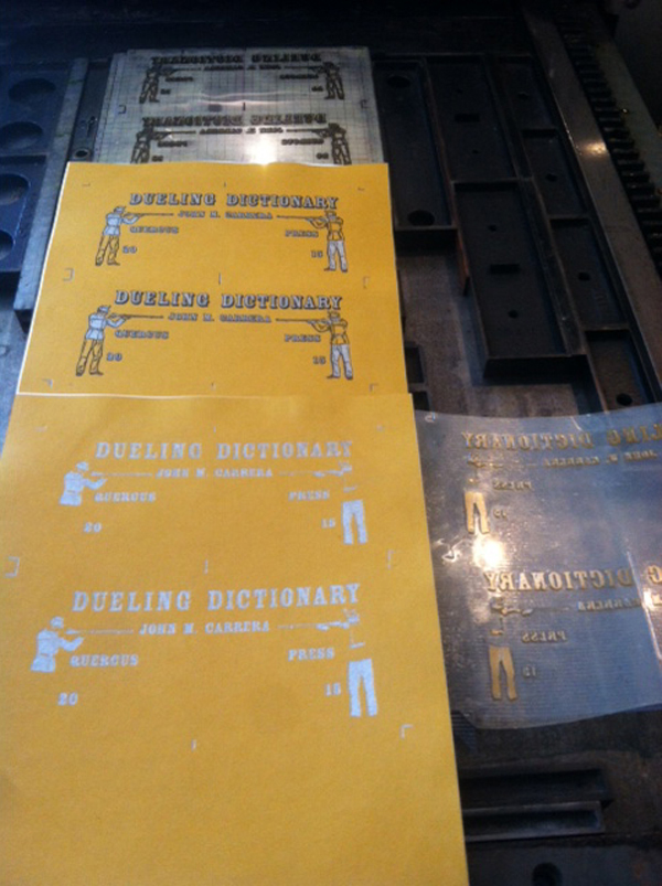 "John Carrera of Quercus Press adds black and cool grey ink to his ""Dueling Dictionaries"" letterpress print project."