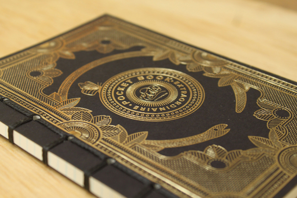 Glamourous and eye-catching gold foil letterpress printed notebook from Essie Letterpress.