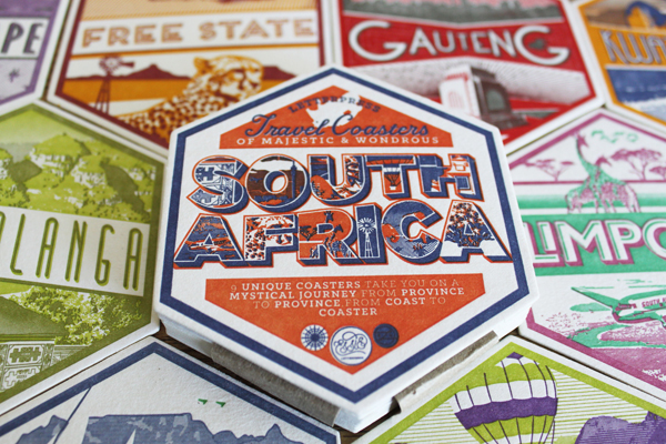 Vintage hexagonal travel-themed vintage letterpress printed coasters from Essie Letterpress wow the eye.