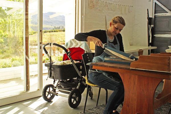 The flowing hills and farmland that surround Essie Letterpress, one of South Africa's best letterpress print shops.