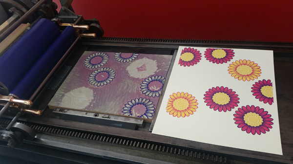 Beautiful second color run on the Vandercook for Heidi Hespelt for the Seattle Hospital Childrens Broadsides project.