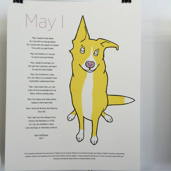Sarah Kulfan's dog Rufus was the inspiration for her Seattle Hospital Children's Broadsides project print.