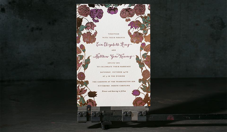 Custom letterpress + foil stamped wedding invitations by Hello Tenfold