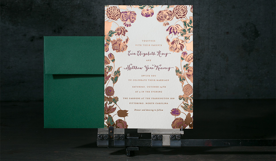 Custom letterpress + foil stamped wedding invitations by Hello Tenfold