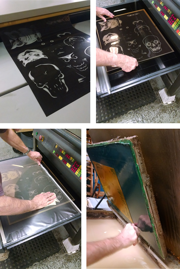 Brian Isserman's halloween and spooky illustratrations going through the letterpress plateaking process from film to plate.