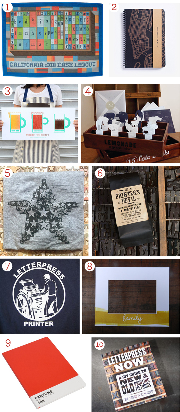 The 2014 Boxcar Press letterpress gift guide has gift ideas for the type-loving letterpress printer in your life - including letterpress t-shirts and more.