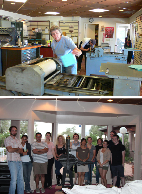 University of Arizona letterpress classes usually average on 30 students.