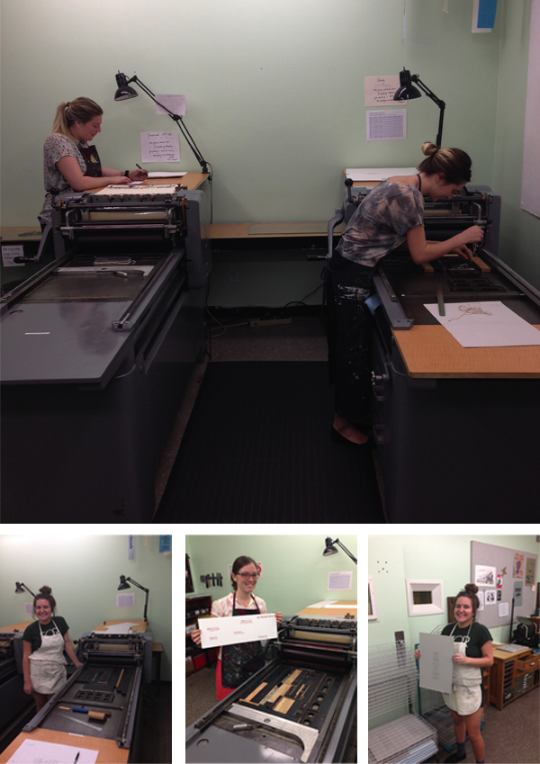 Happy students letterpress their hearts out at Florida State University.