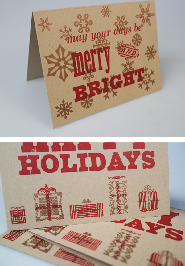 Festive and bright letterpress cards are printed by students in Miami University (Ohio)'s letterpress print classes.