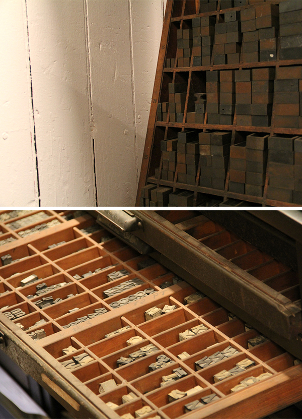 A peek at the type inside the Nane Press letterpress print shop