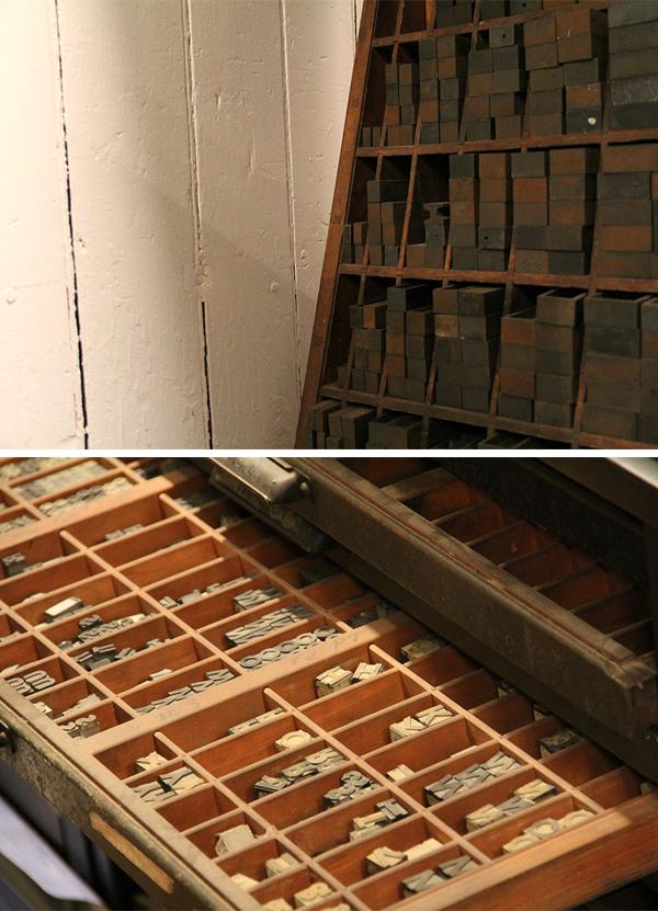 A peek at the type inside the Nane Press letterpress print shop