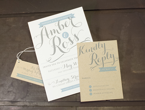 Letterpress wedding invitation samples from Nane Press