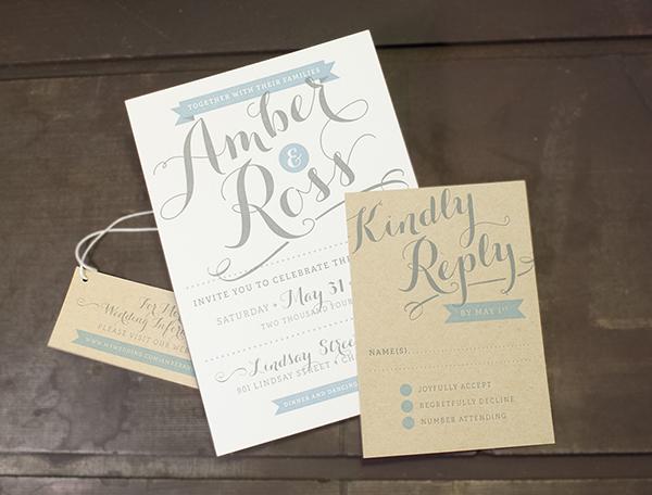 Letterpress wedding invitation samples from Nane Press