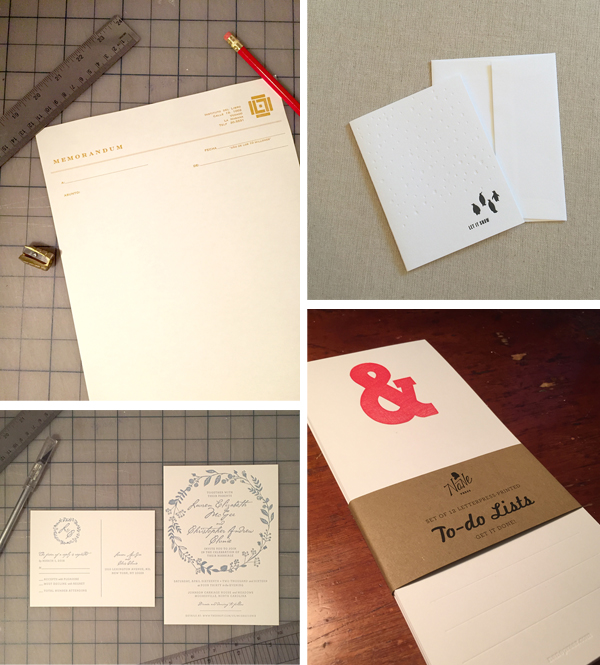 Letterpress work samples from Nane Press