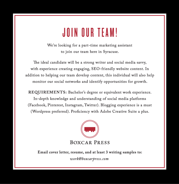 Join the boxcar press team - we're hiring!