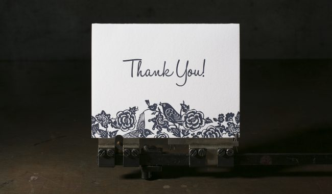 Letterpress thank you notes
